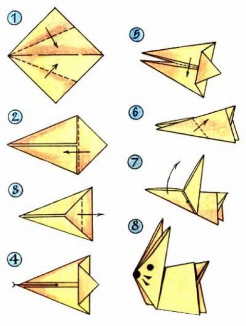 Поделки оригами из бумаги зайчика